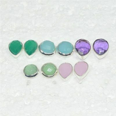 925 Solid Sterling Silver Wholesale 5Pair Natural Green Onyx Stud Earring Lot