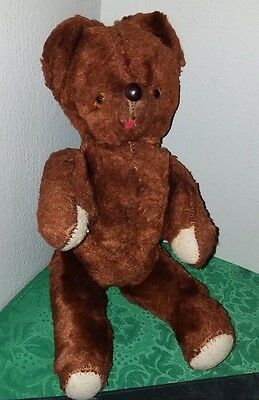 OLD Antique 40's Mohair TEDDY BEAR~Jointed,Straw Stuffed,Glass Eyes,Hand Sewn!