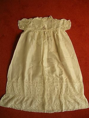 Beautiful Victorian Christening Gown - Exquisite Ivory Silk & Embroidery