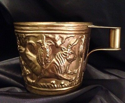 Vintage Brass Hand Made Vapheio Greek Gilt Cup Made In Greece Bulls Exc. Cond.