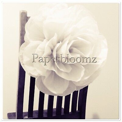 Paperbloomz Large White Paper Rose - Tissue Paper Party Event Wall Decorations