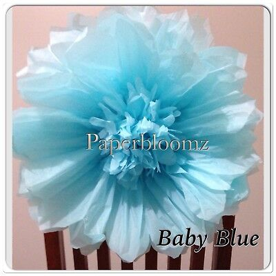 Large  Blue Tissue Paper Flower Weddings Birthdays Events Wall Decorations