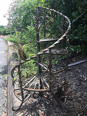 Vintage Black Wrought Iron Tiered Plant Stand