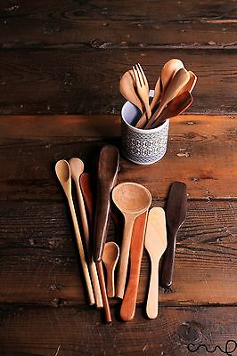 Hand Carved Wooden Spoons Forks Butter Knife Kitchen Dining Gift High Quality