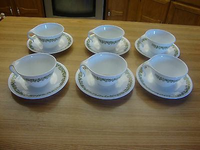 Corelle By Corning Ware 12 Pcs.spring Blossom Green Cups & Saucer Made In U.s.a.