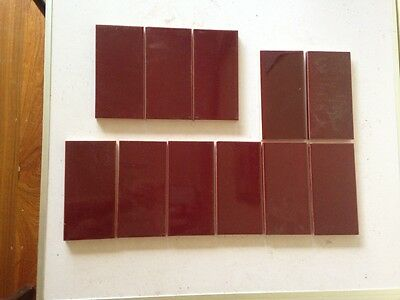 "11 Fireplace burgundy new tiles 6"" x 3"" ."