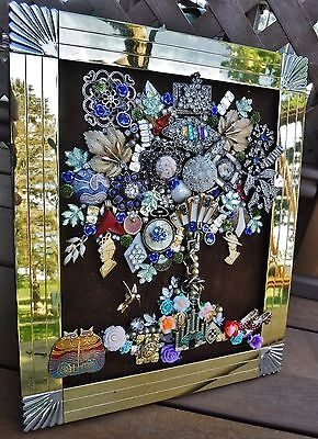 Jewelry Art Art Deco Tree of Life, signed by Suzanne, Estate Frame