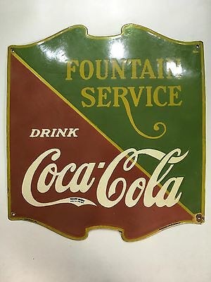 Vintage Drink Coca Cola Fountain Service Porcelain Enamel Sign...