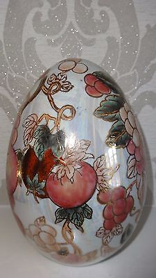 Extra Large Ceramic Ornamental Decorative Egg Hand Painted With Fruit  - Mint!