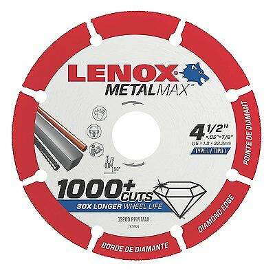 "LENOX 1972921 4-1/2"" Metalmax Diamond Steel-Cutting Cut-off Wheel"