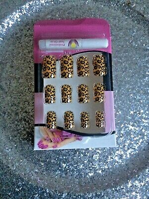 Kit Faux Ongles Nail Art 12 Capsules Pret A Poser + Colle Deco Leopard Chic