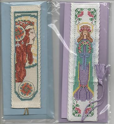 completed cross stitch bookmark card  x2