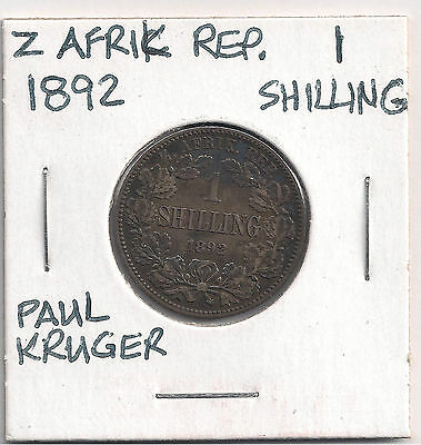1892 SOUTH AFRICA Shilling VF Silver -  LOW MINTAGE 130K