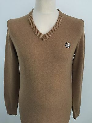 FRED PERRY Mens SAND V Neck Jumper LAMBSWOOL Size SMALL