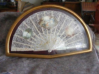 Antique French 19th Century Lace Fan Mother of Pearl in Antique Gold Glass Frame