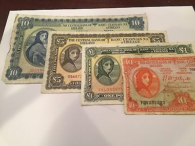 Series A BANK OF IRELAND~10 Shilling, 1, 5, 10 Pound Banknotes - Great Starter !