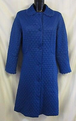M&S St Michael Dressing Gown Approx Sz 12 Blue Quilted Lace Embroidered Hem VGC