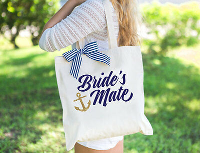 Nautical Wedding Tote Bags for Bride and Bridesmaids - Bridal Party Tote Bags