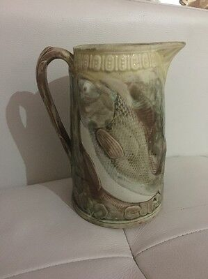 Antique Majolica  Jug Pitcher Fish Design Pottery