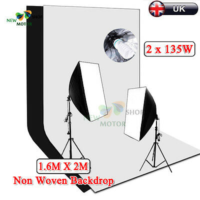 1350W Photography Softbox Lighting Stand 2 Screens Backdrop Soft Box Studio NEW