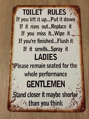 TOILET RULES Vintage Retro Metal Tin Sign Plaque Garage Bar Pub Cave Home Decor