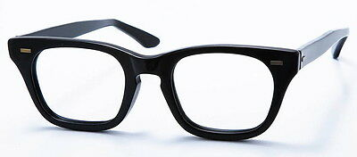 Vintage Mens Eyeglasses - Black Plastic 1950's Eye Glasses - Halo Nerdy Frames