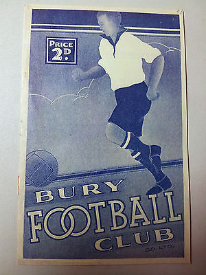 1937/38 programme BURY v SHEFFIELD WEDNESDAY