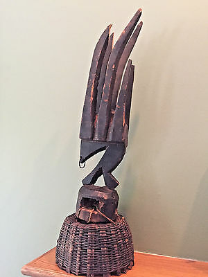 Antique African Bambara Headdress Chiwara Antelope Carved Wood Mali Tribal Art