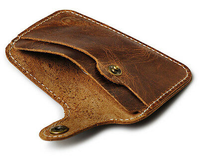 Genuine Leather Minimalist Credit Card Wallet Business Card Holder Tiny Slim