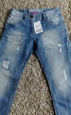 Next Girls Denim Jeans New Age 7 Years Height 122 Cm Bnwt Blue Frayed Look