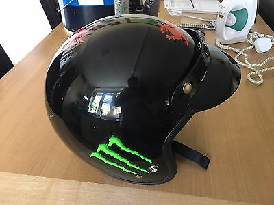 Mens Black Open Face Crash Helmet - Size Xl