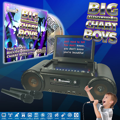 Mr Entertainer PartyBox Portable CDG/DVD Karaoke Machine. Pop Chart Boys Pack