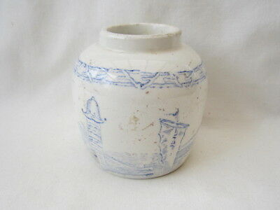 Antique Blue & White Ginger Jar / Pot In Good Condition.