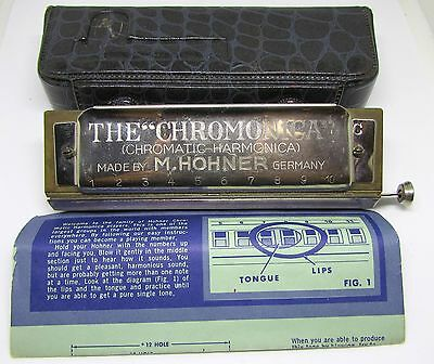 Hohner Chromonica Chromatic Harp_Germany_Key Of C_Wood Comb_In Case_10 Hole_Nice