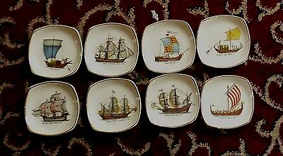 Set Of Eight  Midwinter Stylecraft Historic Ships Pin Dishes  C 1959