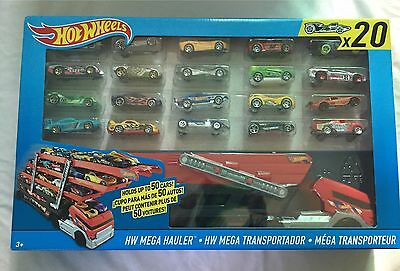 Hot Wheels Mega Hauler Mattel Toy Truck Gift Set With 20 Diecast Dinky Cars New