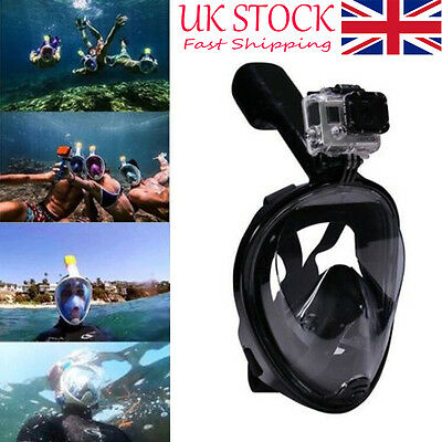 Breath Full Face Mask Surface Diving Snorkel Scuba for GoPro Swimming Tools -UK-