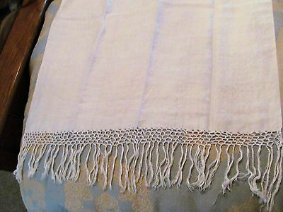 Antique White Linen Damask Hand Knotted Fringe Hand / Kitchen Towel 58 X 25