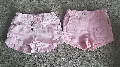 Baby Girl's x2 Next Pink Shorts. Size 3-6 months