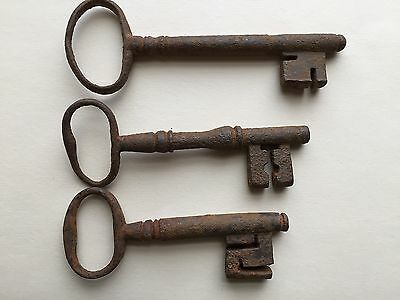 "THREE Large ANTIQUE KEYS cast iron/hand 3"" - 3.5"" furniture chests dawers gates"