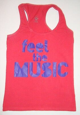 Zumba Feel The Music Pink Purple Racerback Tank Top Large L Workout Shirt