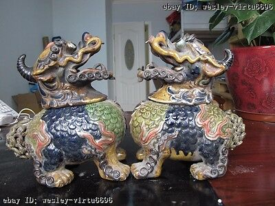 "8""Chinese folk magnificence wucai porcelain beast incense burner censer pair"
