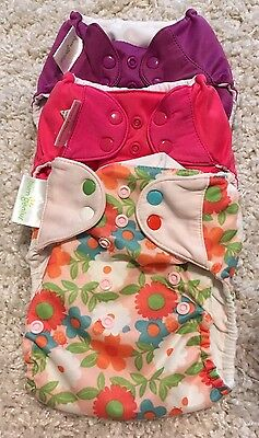 Bumgenius 4.0 Cloth Diaper Lot One Size Pink Purple Flowers