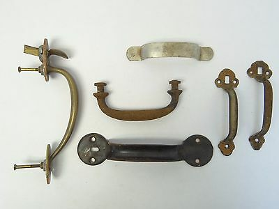 Mixed Antique & Vintage Lot Used Old Metal Iron Brass Door Handles Pulls Parts