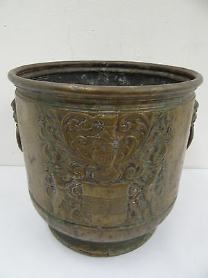 Antique Old Metal Brass Coat of Arms Repousse Dog Medium Sized Trash Bucket Pail