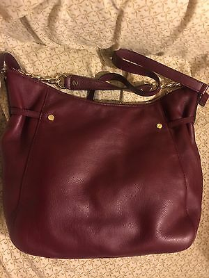 Michael Kors Megan Leather Large Top Zip Shoulder Tote Bag - Burgundy - $