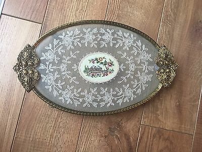 Vintage Petit Point Glass Brass Lace Ormolu Embroidered Vanity Tray