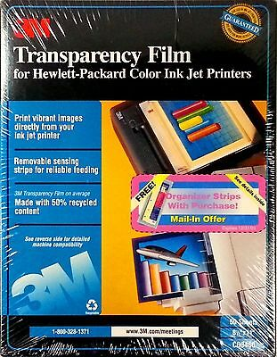 3M Transparency Film for HP Color Ink jet Printers 50 Sheets 8.5 x 11  CG3460