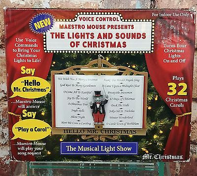 Rare! Mr. Christmas Voice Controlled Maestro Mouse Presents Lights & Sounds of C