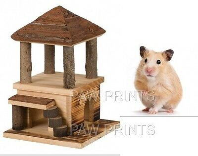 Trixie Natural Wood Hamster House Hide Bed Chew Toy 2 Storeys Steps 61961